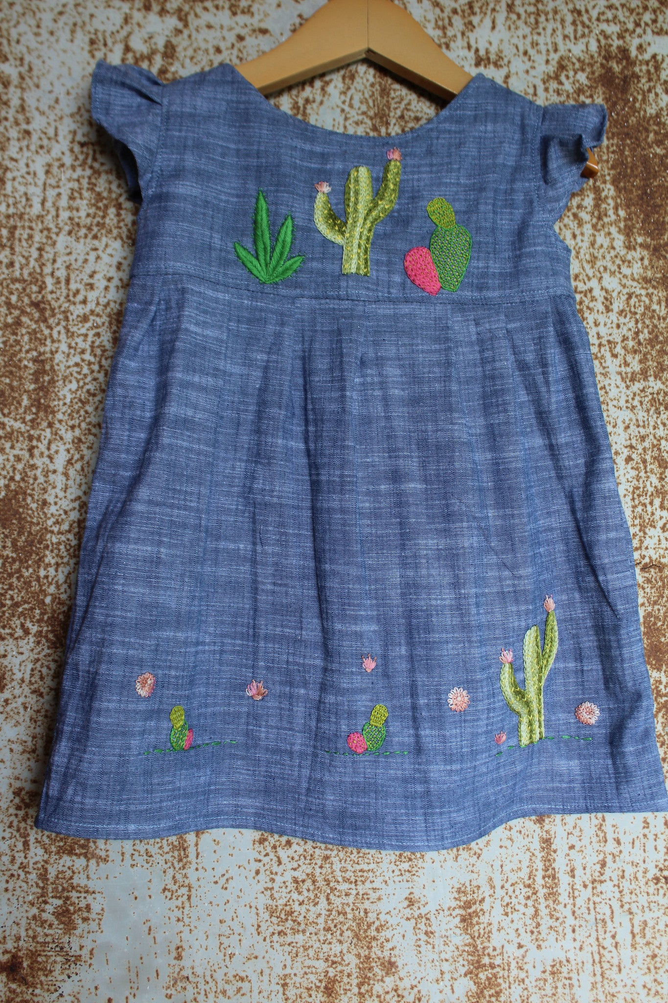 """Aloe From the Other Side"" - Cactus on Chambray - Size 2T"