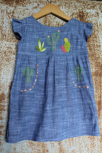 """Aloe From the Other Side"" - Cactus on Chambray - Size 3T"