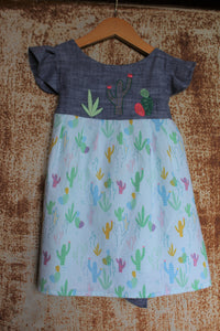 """Aloe From the Other Side"" - w/ Sash on Chambray & Cactus Print - Size 3T"