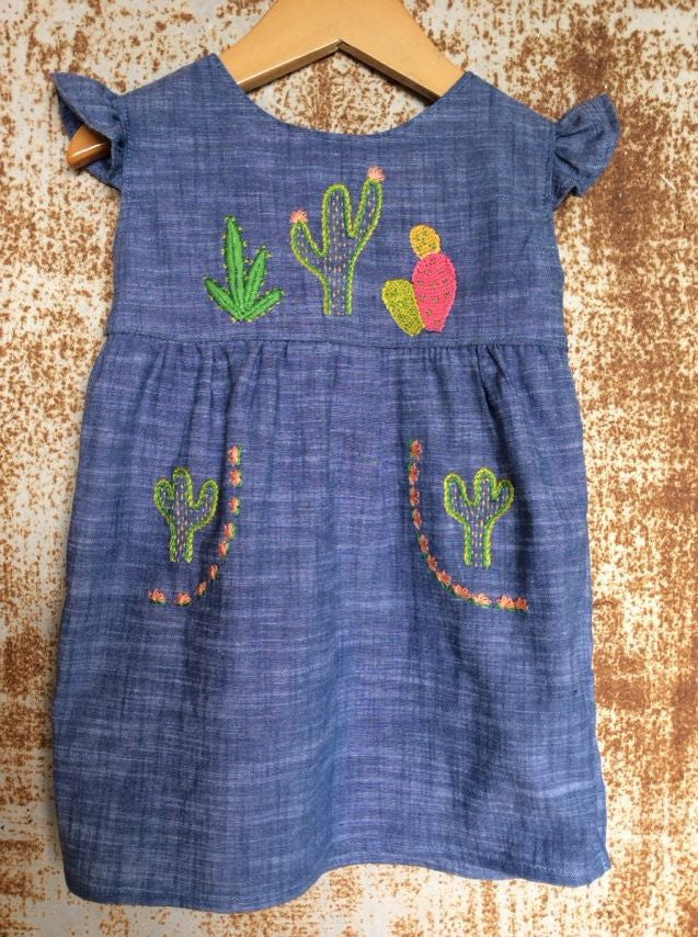 """Aloe From the Other Side"" - Cactus on Chambray w/ Pcoket Detail - Size 18-24m"
