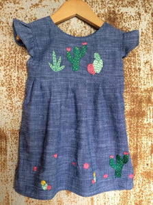 """Aloe From the Other Side"" - Cactus on Chambray - Size 12-18m"