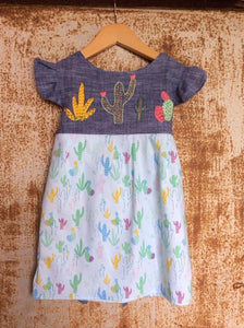 """Aloe From the Other Side"" - Cactus on Chambray w/ Sash - Size 4T"