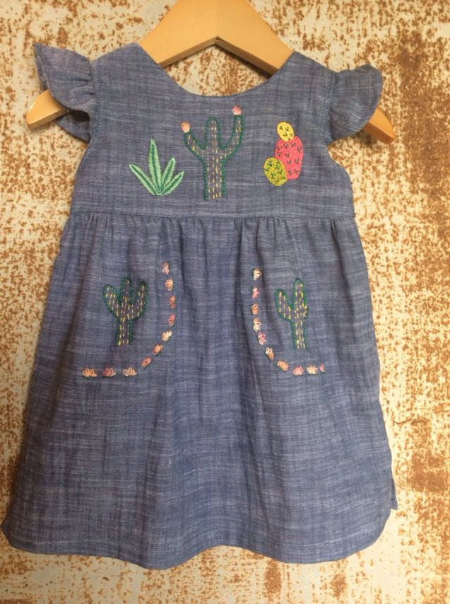 """Aloe From the Other Side"" - Cactus on Chambray - Size 6-9m"