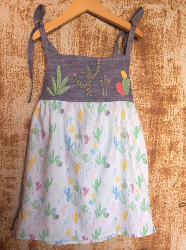 """Aloe From the Other Side"" - Spaghetti Strap w/ Sash & Cactus Print - Size 5"