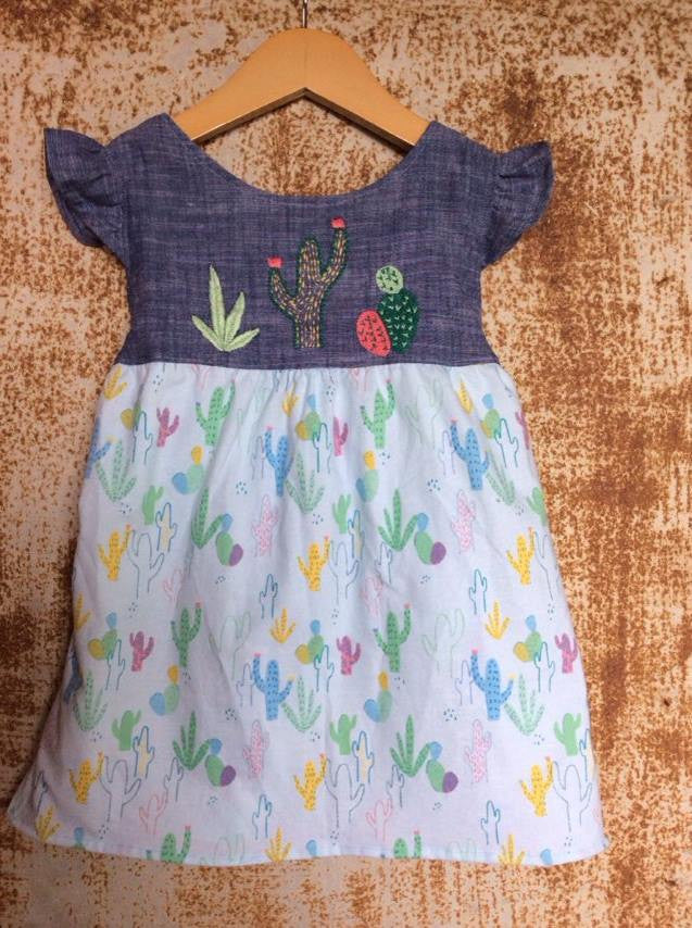 """Aloe From the Other Side"" - Chambray & Cactus Print w/ Sash - Size 2T"