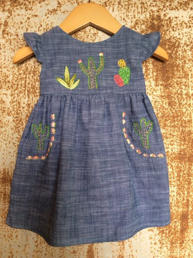 """Aloe From the Other Side"" - Cactus on Chambray - Size 3-6m"