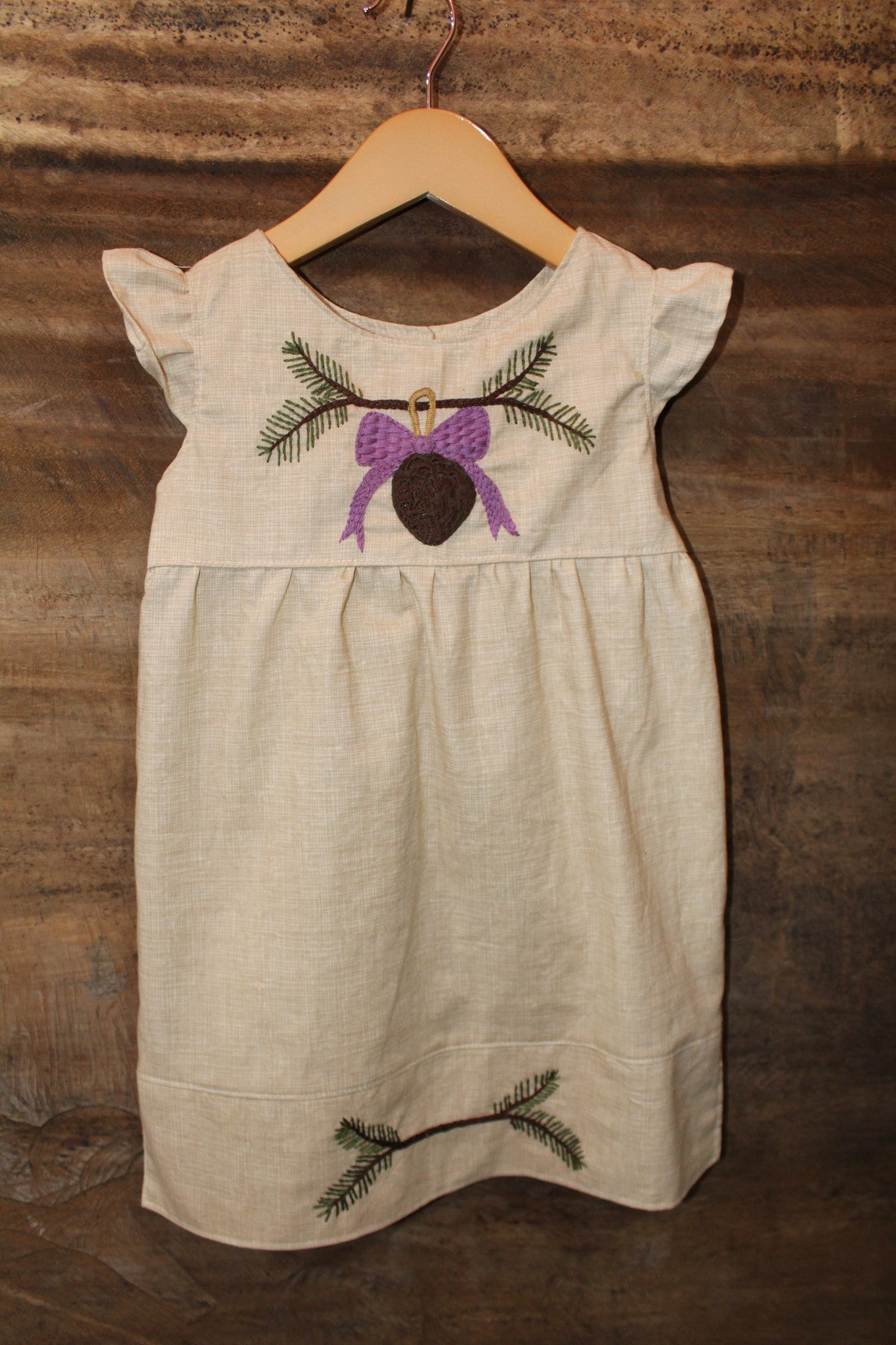 Traditional Tunic - Pine Detail - Cream Printed Linen