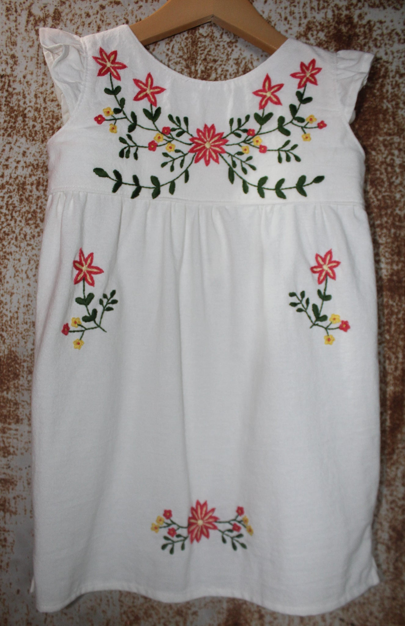Traditional Oaxacan Tunic - Local Unbleached Cotton: Pink Flowers Detail - Size 5T