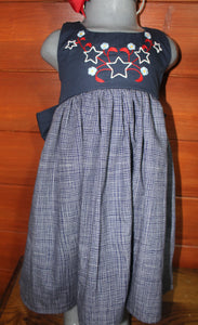Stars, Stripes & Stitches - Navy w/ Check Skirt - Size 3T