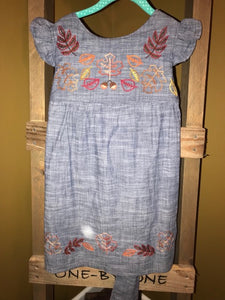 Falling Leaves Chambray Dress - Size 6