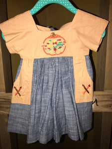 6-9m Aztec Pumpkin Dress with Pockets