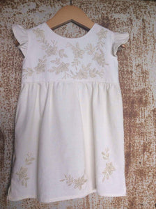 Cream on Cream Floral Dress - Unbleached Local Cotton -  Past Easter