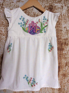Cream Easter Egg Hunt Tunic on Local Unbleached Cotton - Past Easter