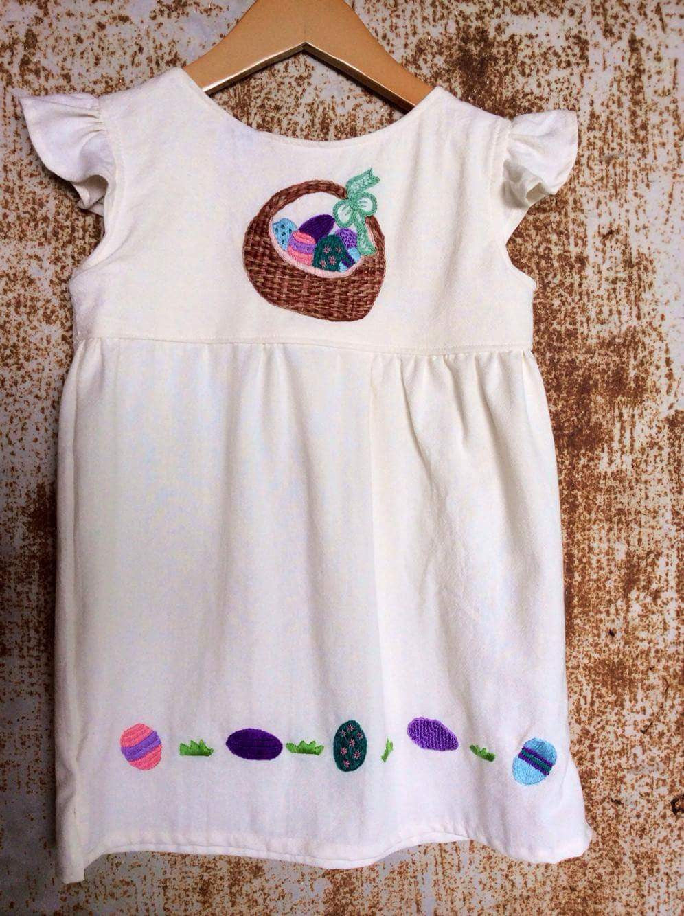 Cream Easter Basket Dress on Local Unbleached Cotton - Past Easter