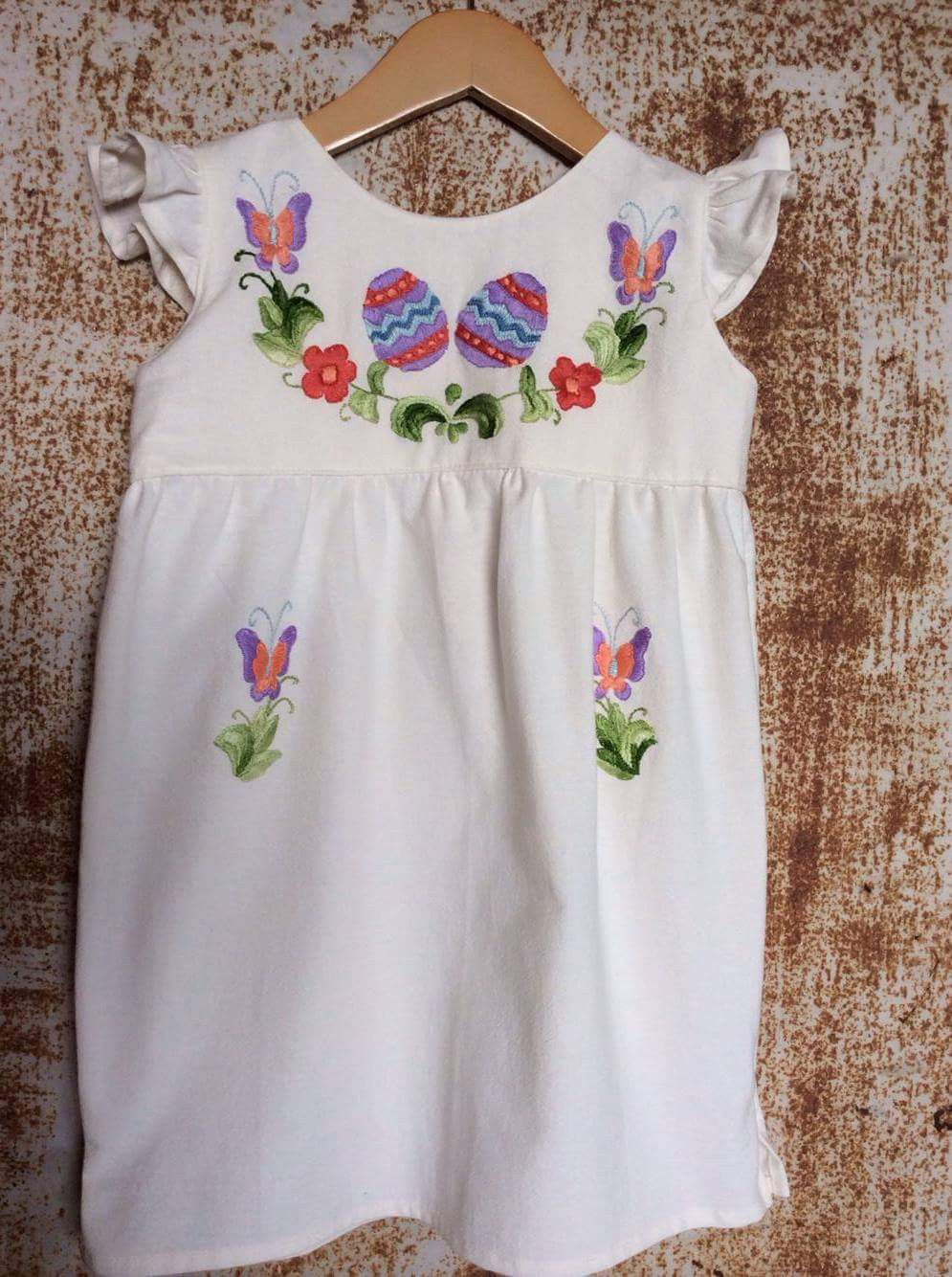 Cream Easter Eggs Dress on Local Unbleached Cotton - Past Easter