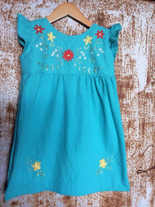 Traditional Oaxacan Dress w/ Floral Detail on Local Paradise Blue Cotton - Past Traditional
