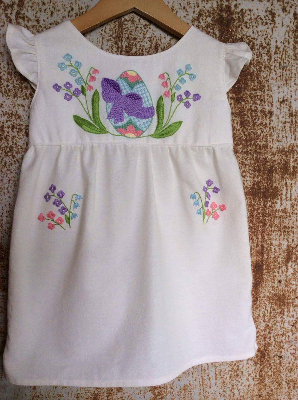 Cream Easter Egg Hunt Dress on Unbleached Local Cotton -Past Easter