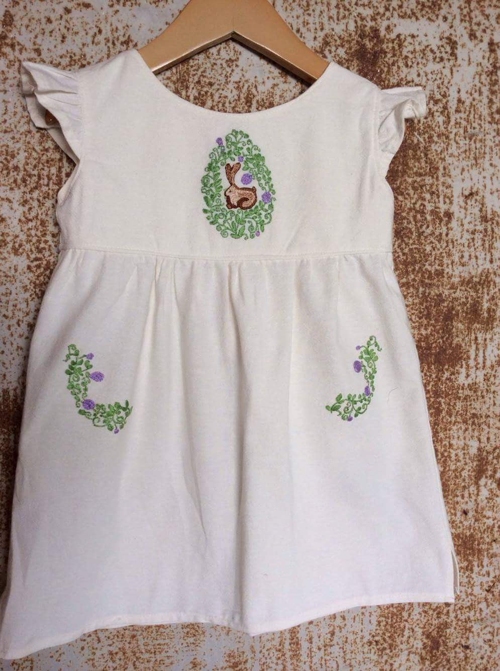 Cream Bunny Tunic - Unbleached Local Cotton-  Past Easter