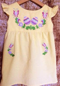 Easter Eggs Dress on Local Yellow Cotton-  Past Easter