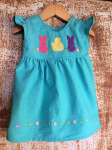 Easter Peeps Tunic on Local Paradise Blue Cotton-   Past Easter
