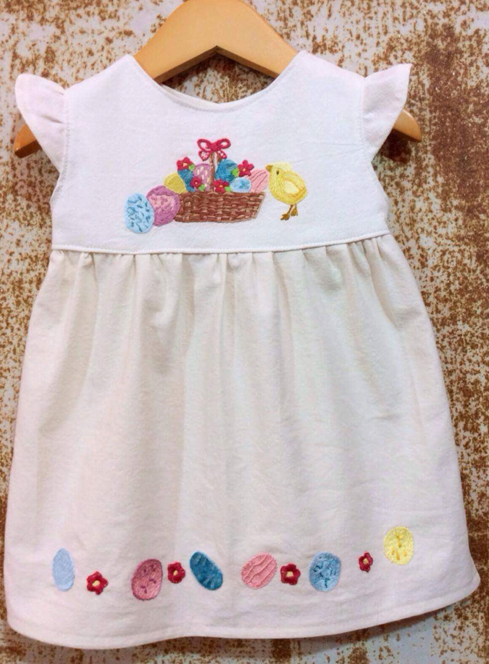 Cream Easter Basket Tunic on Local Unbleached Cotton-  Past Easter
