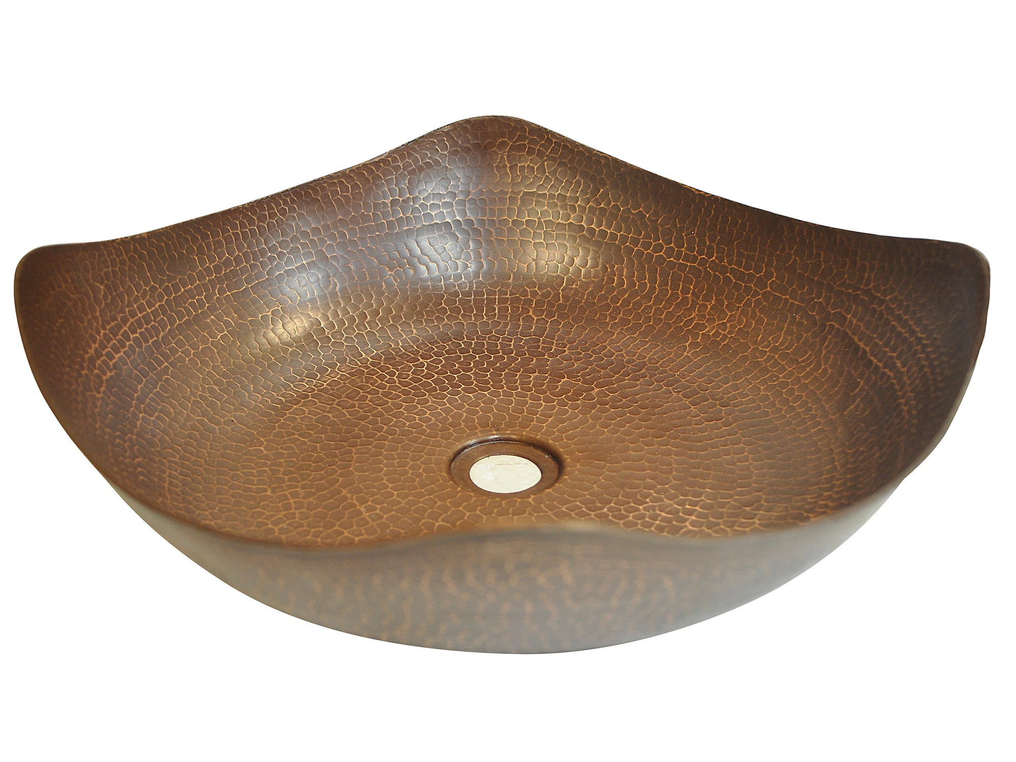 Hammered Copper Vessel Sink with Four Peaks Design