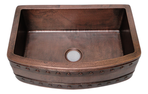 Rounded Front Apron Barrel Strap Copper Sink