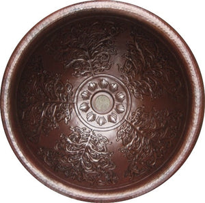 "17"" Round Copper Sink with Brocade Design"