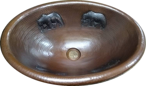 Rounded Edge Oval Copper Sink with Bears Design