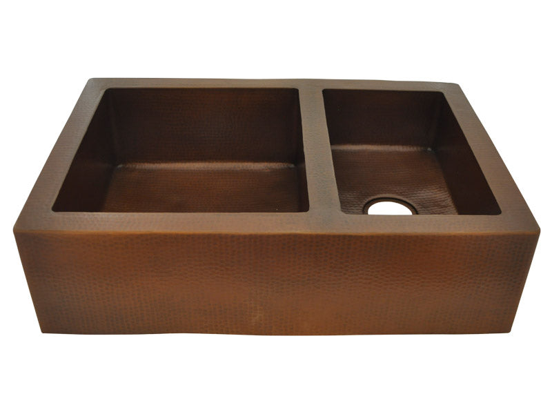 Classic Copper Farmhouse Sink 60/40 Split