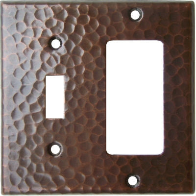 GFI Toggle Combo Hammered Copper Switch Plate Cover