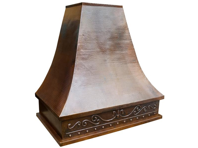 Copper Range Hood with Scroll Design