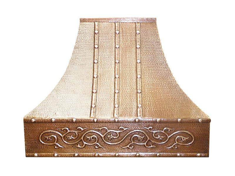 Copper Range Hood with Straps and Decorative Scroll
