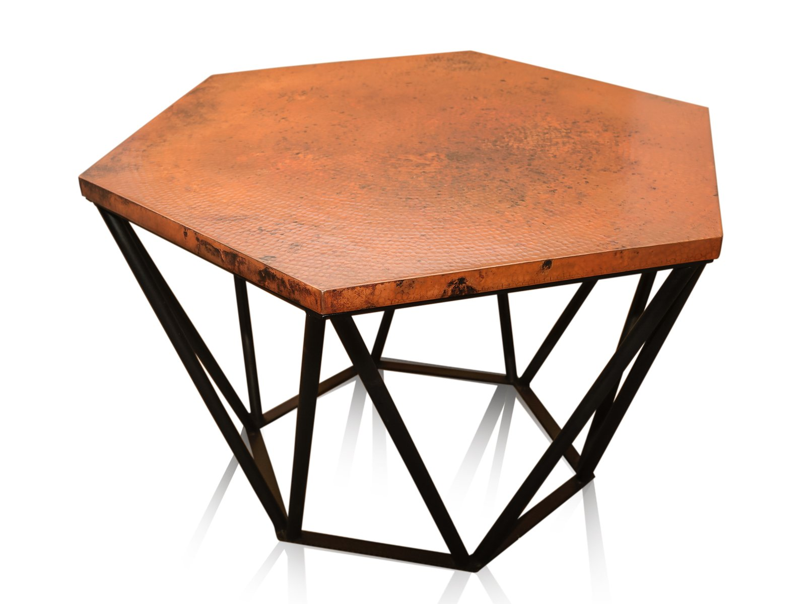 Copper Hammered Hexagonal Center Table