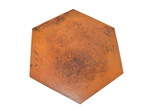 Copper Hammered Hexagonal Prism Center Table