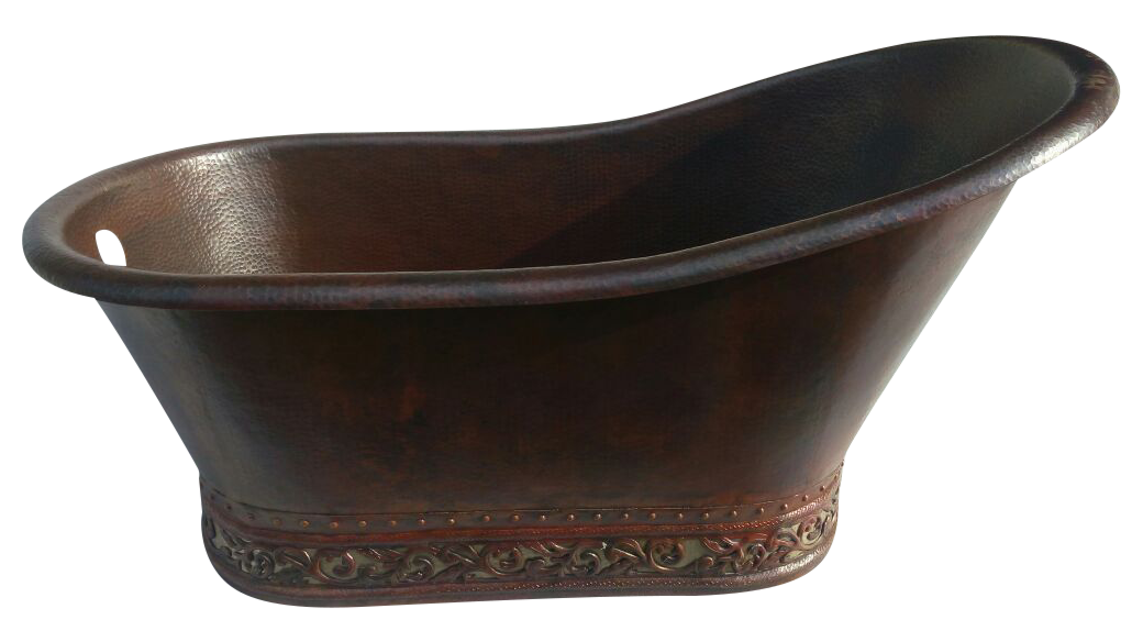 Slipper Copper Bathtub with Scroll Design