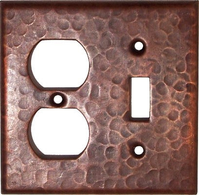 Duplex Toggle Hammered Copper Switch Plate Cover