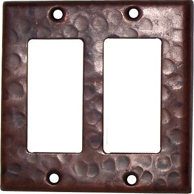 Double GFI Hammered Copper Switch Plate Cover