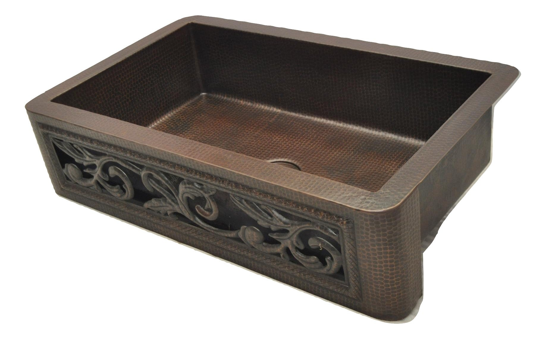 Copper Farmhouse Sink with Cutout Scroll Design