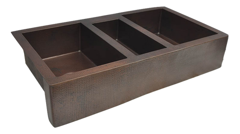 Extra Large Copper Farmhouse Sink with Triple Bowl