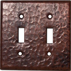 Double Toggle Hammered Copper Switch Plate Cover