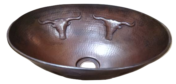 "14"" Oval Vessel Copper Sink with Longhorns"