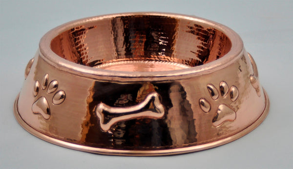 Copper Dog Bowl With Paw Amp Bone Design Rustic Sinks