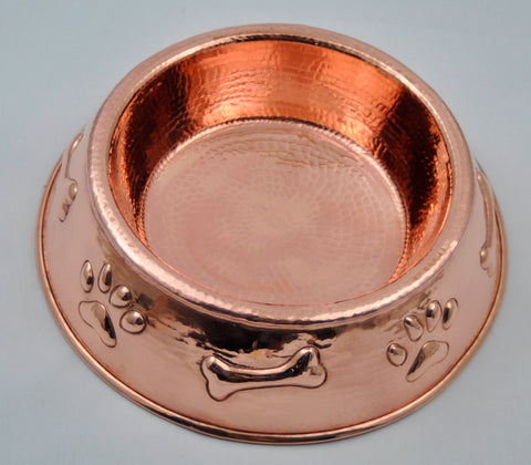Copper Dog Bowl with Paw & Bone Design