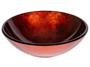 Red Copper Glass Vessel Sink