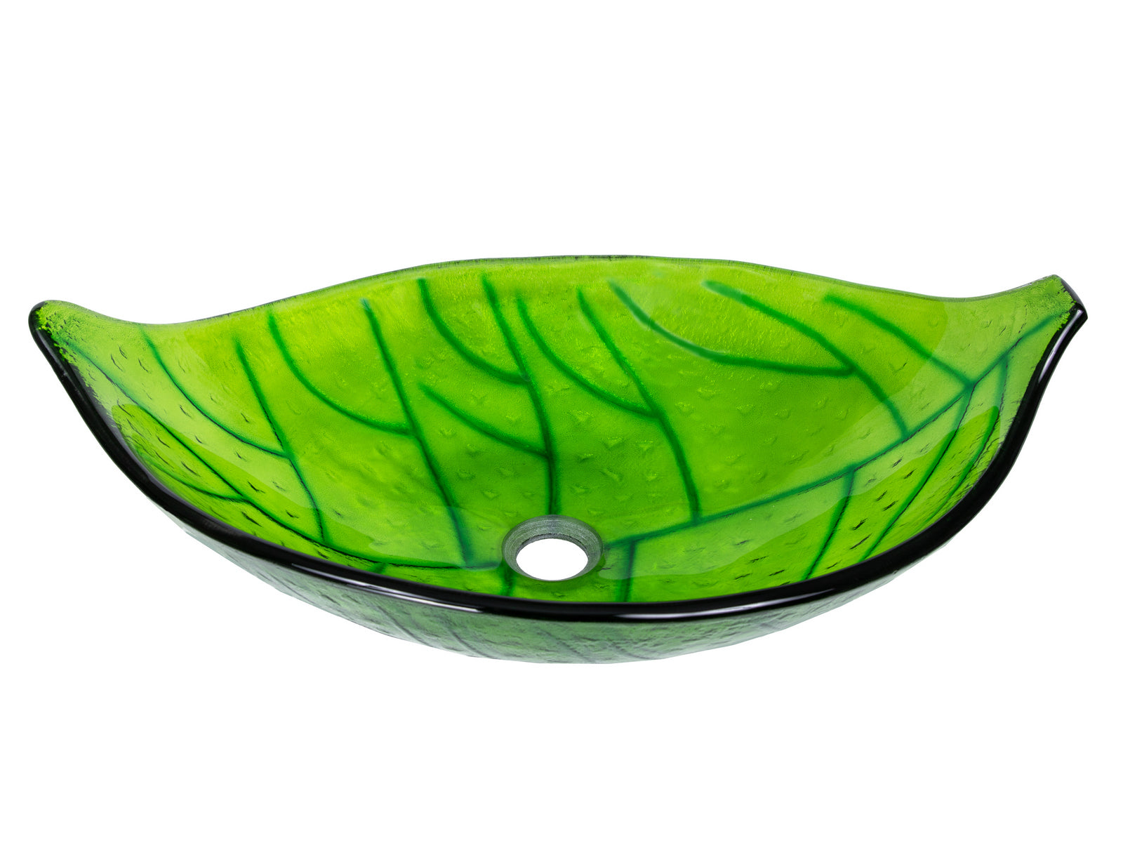 Green Leaf Glass Vessel Sink