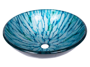 Blue and Green Magnolia Glass Vessel Sink