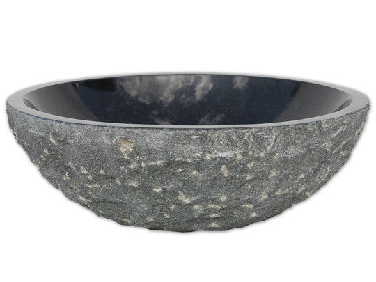 "16"" Round Black Granite Stone Sink"