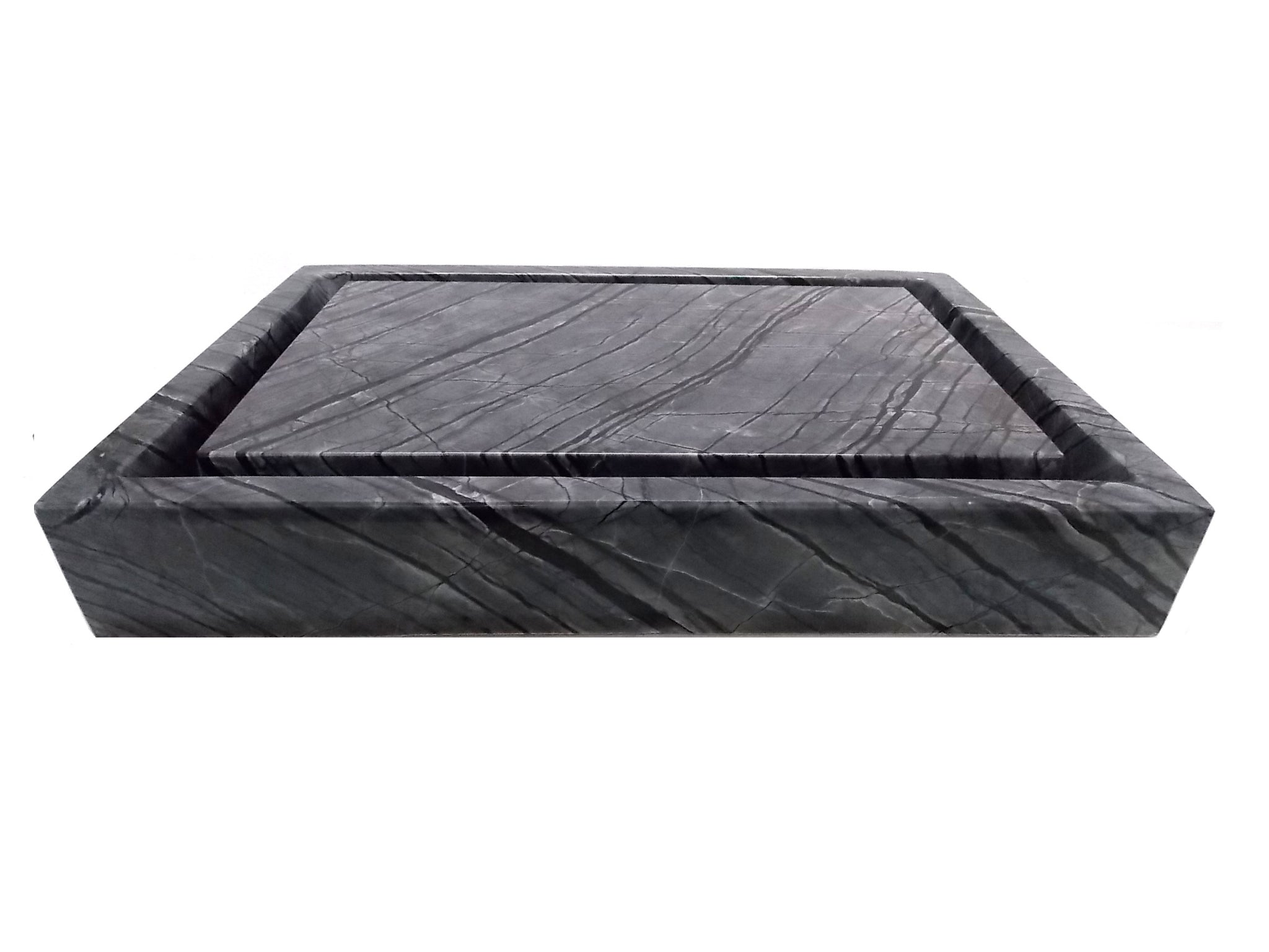 Rectangular Infinity Pool Sink - Polished Black Marble
