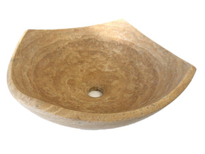 Arched Edges Travertine Vessel Sink